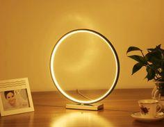 Technology Round Sphere Geometric Ring Circle Table Lamp Bedside Lighting Desk Light Like Moon Romantic Moon Light Lamp, Desk Light, Bedside Lighting, Bedside Table Lamps, Circle Table, 3d Printing Technology, Night Lamps, Night Light, Led