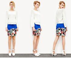 裾にお花のプリントが入ったタイトスカートです。 ジャージー素材だけどカジュアルになりすぎない、大人っぽいデザインとなっています。 鮮やかなロイヤルブルーが上品! 伸縮性があり、履き心地も◎