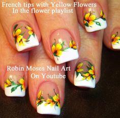 Summer Yellow Flower Nail Art