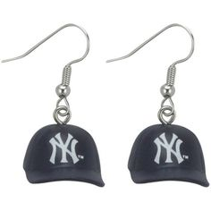 New York Yankees 3D Cap Earrings ($8.99) ❤ liked on Polyvore featuring jewelry, earrings, multi, logo earrings, fish hook jewelry, evening earrings, fish hook earrings and plastic jewelry