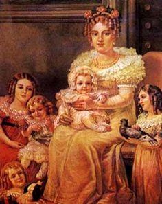 Da. Leopoldina e seus filhos em 1826, tendo no colo  D. Pedro de Alcântara, futuro D. Pedro II. Quadro  de Georgina de Albuquerque, que se encontra no Museu  Histórico Nacional IPHAN/MINC.