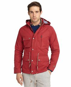 Brooks Brothers: Casual Parka (Red)_$149 Sweater Jacket, Rain Jacket, Red Parka, Brooks Brothers, Color Pop, Personal Style, That Look, Windbreaker, Raincoat