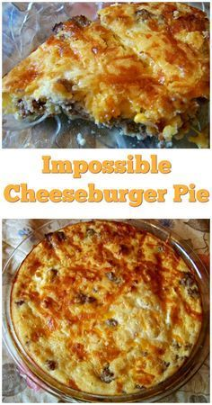 Try this easy weeknight meal of Impossible Cheeseburger Pie. So simple and sounds impossible, make this Cheeseburger Pie tonight! New Chicken Recipes, Beef Recipes, Real Food Recipes, Cooking Recipes, Game Recipes, Entree Recipes, Vegan Recipes, Bisquick Recipes, Amish Recipes