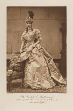 Consuelo Vandebilt, Duchess of Marlborough, dressed for a costume ball as the French ambassador's wife at the court of Catherine the Great (c. 1897, published 1899). There is an accompanying photo of her husband the 9th Duke of Marlborough costumed as the French Ambassador.