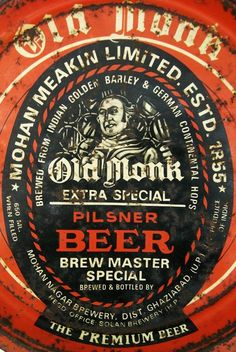 Old Monk Beer Ad Tin Sign