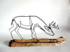 Deer Wire Sculpture by WiredbyBud on Etsy