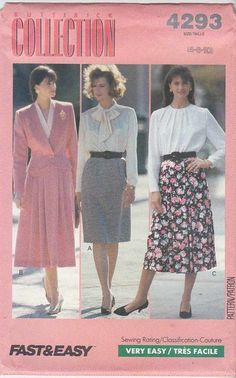 Butterick Sewing Pattern 4293 Misses Size 12-14-16 Easy Straight Flared Skirts  --  Currently Available for sale from www.MoonwishesSewingandCrafts.com