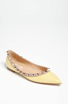 Valentino 'Rockstud' Ballerina Flat LOVE and NEED--either this beautiful soft yellow or the kick A redddd.