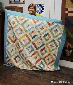 Quick, Easy and Utterly Charming Bed Sized Quilt - Quilting Digest Big Block Quilts, Strip Quilts, Easy Quilts, Quilt Blocks, Missouri Star Quilt Tutorials, Quilting Tutorials, Msqc Tutorials, Quilting 101, Jelly Roll Quilt Patterns