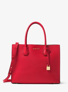 5a8a2cb1cbed2 Michael Kors Mercer Large Leather Tote - Bright Red1 Pebbled Leather