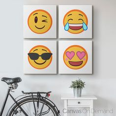 "Emoji Wall Art spice up your walls with a ""flirty emoji"" canvas print. not"