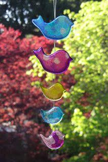 Melted beads - birdie suncatcher