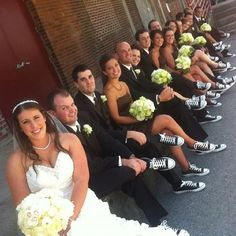 This is a definite possibility of happening at my wedding if I can get whoever the groom and wedding party will be to agree! And even better if mine and his parents wear a pair too! I'd be perfect and so cute! Wedding Goals, Wedding Pictures, Fall Wedding, Dream Wedding, Wedding Stuff, The Bride, Photos Originales, Wedding Converse, Bridesmaid Dresses