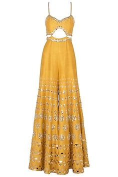 Papa Don't Preach presents Mustard yellow embroidered cutout jumpsuit available only at Pernia's Pop Up Shop. Party Wear Indian Dresses, Designer Party Wear Dresses, Indian Fashion Dresses, Indian Bridal Outfits, Indian Gowns Dresses, Dress Indian Style, Indian Designer Outfits, Fashion Outfits, Fashion Heels