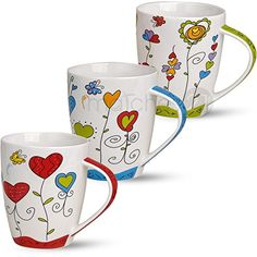 Tassen Becher Kaffeebecher Herzen Blumen bunt Porzellan Set 10 cm / Mugs Mug Coffee Mug Hearts Flowers Colorful Porcelain Set of 3 10 cm / Painted Coffee Mugs, Hand Painted Mugs, Painted Cups, Painted Plates, Pottery Painting, Ceramic Painting, Pottery Art, Glass Ceramic, Ceramic Mugs