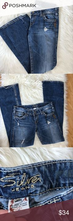 Silver Pioneer Jeans Medium Wash Distressed Denim Excellent condition with little to no wear and tons of life left. Same day/Next day shipping. NO TRADES PLEASE Silver Jeans Jeans Boot Cut