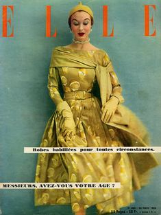 1953 - Givenchy  Lemon Dress citron chartreuse designer couture 50s yellow full skirt color photo print ad magazine model Elle vintage fashion