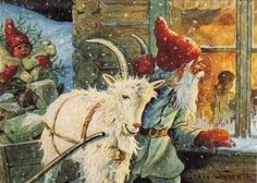 §§§ . Jultomte delivering gifts with the Yule Goat ~ Jenny Nyström, ca 1900