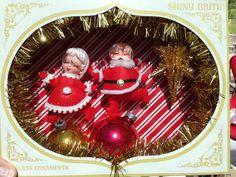 Vintage Shiny Brite Shadow Box / Diorama - Skating Santa & Mrs. Claus by Kitschland on Etsy https://www.etsy.com/listing/202652044/vintage-shiny-brite-shadow-box-diorama