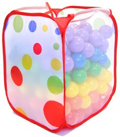 """Non-Toxic 200 """"Phthalate Free"""" Crush Proof Non-Recycled Quality 6.5cm Pit Balls w/ Polka Dot Hamper & Test Reports: 6 Colors - Red, Orange, Yellow, Green, Blue, and Purple"""