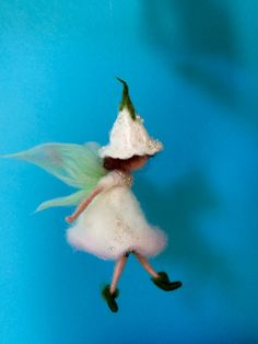 Needle felted fairy Waldorf inspired, Home decor, Wool Flower Fairy, White angel,Angel, Mobile, Art doll, Nursery, Gift, Doll miniature