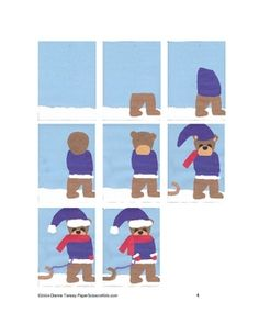 Downladable Teddy Bear and Tobaggan Cut and Paste Art Project - Pinned by @PediaStaff – Please Visit http://ht.ly/63sNt for all our pediatric therapy pins