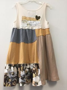 Upcycled Patchwork T-Shirt Tank Dress Shabby Boho Chic