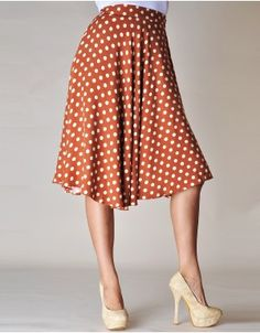 Burnt Orange And Beige Polka Dot Skirt  Another website for cheap/cute clothes. Everything under $10
