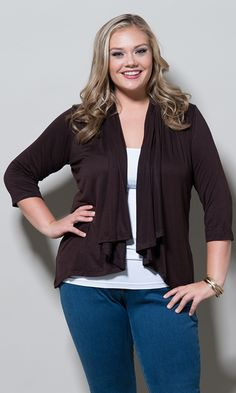 Sealed With A Kiss Designs Plus Size Open Cardigan (Night) - Size Espresso Plus Size Pullover, Plus Size Cardigans, Plus Size Skirts, Plus Size Blouses, Plus Size Tops, Trendy Plus Size, Plus Size Outfits, Plus Size Sale, Plus Size Clothing Stores