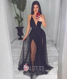 Sexy plunging V neck bodice and double thigh-high slits black tulle prom dress. Plunging bodice with spaghetti straps A-ling long prom dress. Pretty Prom Dresses, Black Prom Dresses, Gala Dresses, Tulle Prom Dress, Trendy Dresses, Sexy Dresses, Cute Dresses, Beautiful Dresses, Black Fancy Dress