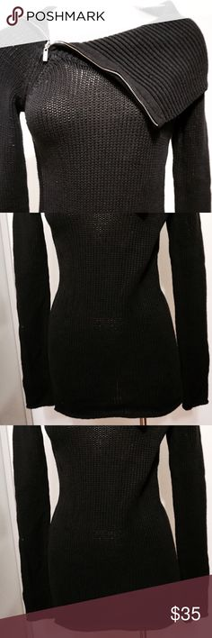 NWT! Zip-collar sweater by Guess! A fancy beach date calls for a sweater as cozy as this. A zippered collar is a classic scene-stealer, making this a top you'll wear over and over. Knit sweater. Oversized pointed collar. Long sleeves. Zippered collar. 100% cotton. NWT! Guess Sweaters