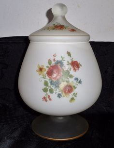 Retro Norleans Italy White Frosted Rose & Flower Motif Footed Ginger / Candy Jar
