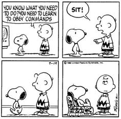 "Snoopy learns ""Sit!"""