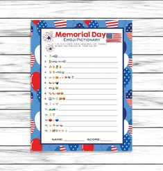 Memorial Day Game, Emoji Pictionary, Party Game, Emoji Game, For Adults Kids, Memorial Day Decor Printable Games, Instant Download 4th Of July Emoji, July 4th, 4th Of July Games, 4th Of July Party, Anniversary Party Games, 65th Anniversary, Emoji Games, Fun Party Games, Adult Games