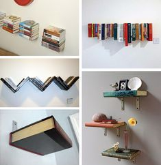 The look of books always fills a space, now they can create some too. Love these upcycled books made into shelves.