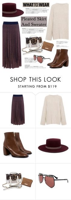"""""""What to wear: Pleated skirt and sweater!"""" by ifchic ❤ liked on Polyvore featuring Tanya Taylor, IRO, TIBI, Janessa Leone, Mohzy and Grey Ant"""