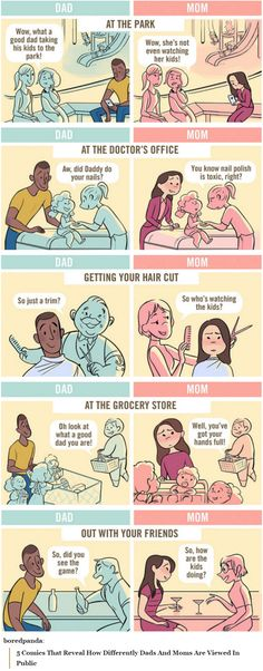 5 Comics That Reveal How Differently Dads And Moms Are Viewed In Public. http://www.boredpanda.com/dad-vs-mom-going-out-in-public-parenting-comics-chaunie-brusie/