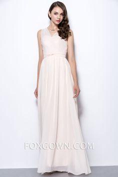 sleeveless pink illusion v neck long chiffon bridesmaid dress