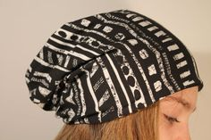 Reversible Beanie Hat, one side Black and white aztec pattern the other plain black  - Lambs & Sheep www.lambsandsheep.etsy.com