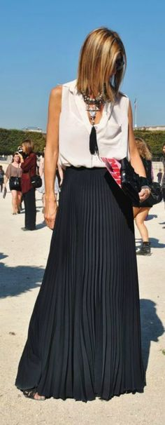 classy maxi skirt with white blouse - love the tassel