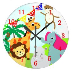 This Jungle Animal themed Clock is so cute the kids are bound to love it, it's a great idea for a baby shower or baptism gift or even a birthday present. #cute #numbers #zoo #jungle #safari #animals #lions #giraffes #monkeys #elephants #nursery #new #shower #customise #nursery #decor #wall #clock #gift #baptism #birthday #bedroom #kids #time #clocks #hippos