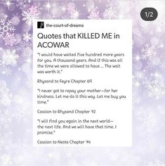 QUOTES THAT KILLED ME IN ACOWAR 1/2