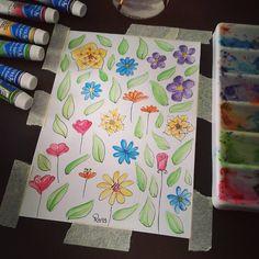 Dibujo rápido de flores y hojas pintado con acuarelas. // Quick flowers and leaves sketch, painted with watercolors. By Rocío Bermúdez
