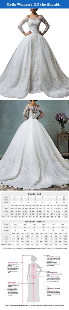 Mella Women's Off the Shoulder Detachable Train Long Sleeves Lace Wedding Dresses 2017 for Bride White-Custom Size. Mella Women's Off the Shoulder Detachable Train Long Sleeves Lace Wedding Dresses 2017 for Bride White-Custom Size FREE SUPER GIFT: 30$ worth of long tulle bridal veils with lace appliques, up to 9 ft (approximately 3m), Same Lace pattern as that of the wedding dress shown in picture. Perfect match for the brides. Standard Size Option: Choose the size from the dropdown menu...