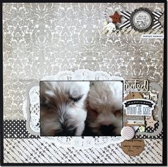 """This New Range in the MME 'Lost and Found' Collection is just magnificent. Wendy has been creating with it, and has used the browns in this range to blend with her photos, as well as to make her colourful photos 'pop'. She has created vintage feel layouts, and even a sporty page. Versatility at it's finest! """"Happiness is You and Me"""" by Wendy Smith – also featuring A Lil' Somethin' flair, Studio Calico and Prima Wood veneers"""