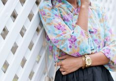 street fashion style trends 2012; floral inspiration style…look how her gold accessories, bracelets and watch..punch up
