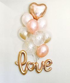 NEW Gold Love Balloons New Love Balloon Rose Gold and Peach