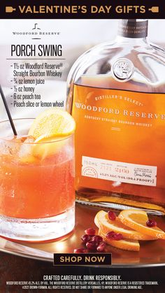 "You can give them a Valentine's Day card, but then you have to hunt for the right one. And they don't taste good on the rocks. Go with Woodford Reserve. Nothing says ""I kinda like you"" any better.​ ​ PORCH SWING: Combine ingredients and stir. Garnish with peach slice or lemon wheel. Cocktails, Cocktail Drinks, Cocktail Recipes, Martinis, Bar Drinks, Holiday Drinks, Summer Drinks, Beverages, Alcoholic Drinks"