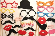 20 PhotoBooth Props, Mustache Party, Lips, Wedding Photo Booth, Props on a Stick Circus Carnival - F on Etsy, $20.00