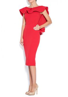 Midi crepe dress with open back .Subtle luxury details of the ruffles. Contemporary and elegant dress. Crepe Dress, Peplum Dress, Ruffles, Party Dress, Dresses For Work, Contemporary, Elegant, Luxury, Red